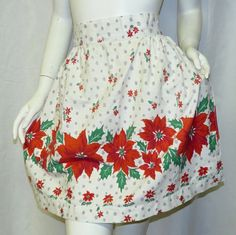 Poinsettias and Snowflakes Vintage Christmas by VintageCreekside, $15.00