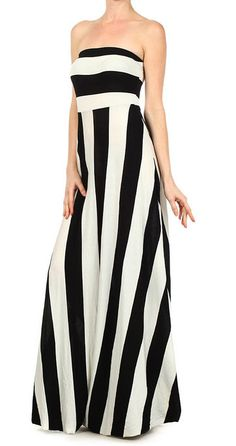 Black & White Stripe Strapless Maxi Dress- good for a day at the beach
