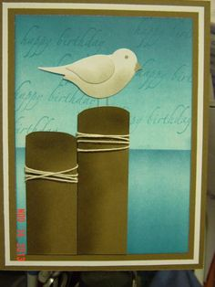 handmade card ... beach scene ... two step punched bird dressed as a seagull ... like the twine around the posts ... great card! ...Stampin'Up!