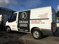 Partial #van wrap and graphics for Keller Kitchen Centre. Partial #wrap with a #matt finish and cut #vinyl #graphics with a #gloss laminate finish fitted to a #Ford #Transit. #Designed, #manufactured and #installed by us.