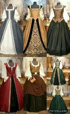 Renaissancekostüm für Frauen , Renaissance costume for women. Mode Renaissance, Renaissance Fair Costume, Renaissance Clothing, Renaissance Fashion, Diy Medieval Costume, Steampunk Clothing, Moda Medieval, Medieval Gown, Pretty Dresses