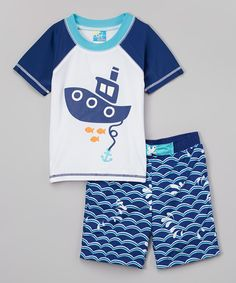 Blue Boat Rashguard & Swim Trunks - Infant