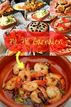 Gambas Pil Pil, Taco Wraps, Tempura, Fish Dishes, Vegan Foods, Pesto, Olie, Sushi, Shrimp