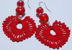 Bling AND hearts  Crochet earrings  Large crochet earrings  Crochet by lindapaula, €9.00