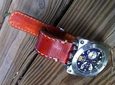 "Handmade 26mm leather watch strap British Tan Pre V buckle Lum Tec Watch ""Florida Gators"" Script Logo embossed"