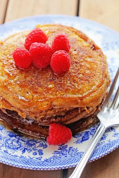 French Toast and Pancakes Collide in these delish French Toast Pancakes from the Stack Happy Cookbook! ~ http://www.grandbaby-cakes.com