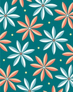 mollykd.tumblr.com/ #pattern #flowers #daisies #floral #design #teal #prints #society6