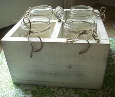 Lovely Distressed Chic Wood Centerpiece/Party Silverware Holder.