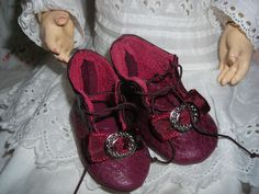 """Doll Shoes for Antique French German Bisque Doll 2 1 2"""" x 1 1 4"""" All Leather 