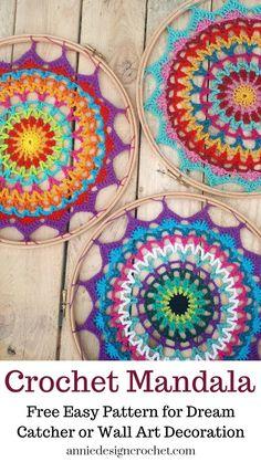 Free Pattern for easy Crochet Mandala. Instructions to make Dream Catcher or Crochet Wall Art – Annie Design Crochet Free Pattern for easy Crochet Mandala. Instructions to make Dream Catcher or Crochet Wall Art – Annie Design Crochet Crochet Wall Art, Crochet Wall Hangings, Crochet Home, Crochet Crafts, Crochet Projects, Knit Crochet, Crochet Tutorial, Crochet Pattern Free, Knitting Patterns