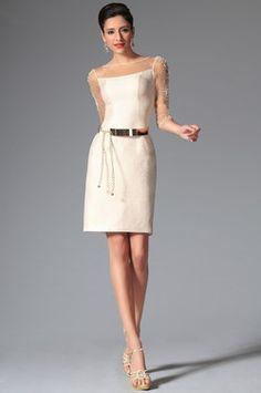 Simple Vestido de D�a Vestido de C�ctel con Mangas de Estilo (03143713)
