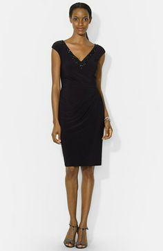 Lauren Ralph Lauren Embellished Cap Sleeve Jersey Sheath Dress available at #Nordstrom