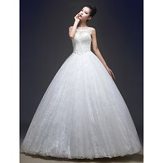 Ball Gown Jewel Floor-length Lace And Tulle Wedding Dress (HS417)
