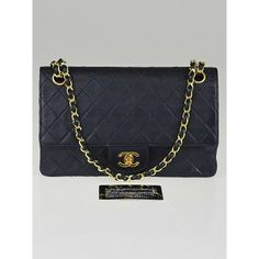 Chanel Vintage Navy Blue Quilted Leather Medium Double Flap Bag