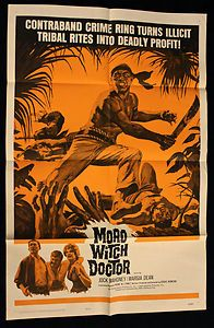 Great original 1963 movie poster to promote 'Moro Witch Doctor'.