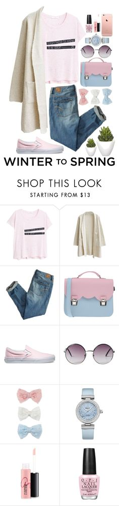 """""""Winter to Spring Layers"""" by pjwrdyt ❤ liked on Polyvore featuring MANGO, American Eagle Outfitters, La Cartella, Vans, Monki, Decree, OMEGA, MAC Cosmetics, OPI and Pomax"""