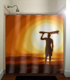 surfer sunset surf board surfing shower curtain bathroom decor fabric kids bath white black custom duvet cover rug mat window on Etsy, $67.00