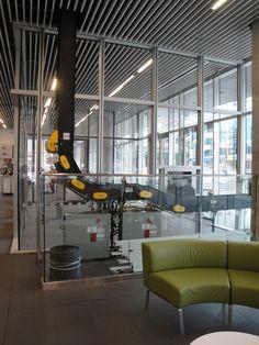 Automated return conveyor runs through ceiling plenum Central Library, Ceiling, Ceilings, Trey Ceiling
