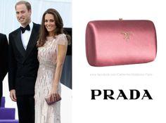 Kate Middleton, Duchess of Cambridge.  Prada Satin Logo Box Clutch ($556).