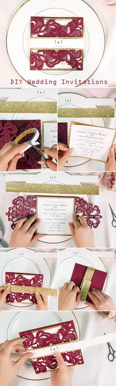 DIY burgundy and gold deluxe wedding invitations