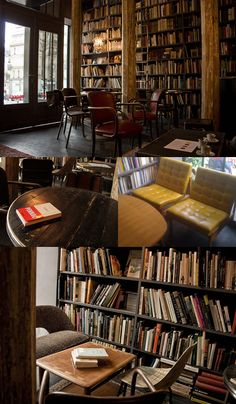 """""""Today, I had a lazy afternoon in the Used Book Café of the concept store Merci. I love this place. The atmosphere is dark and cozy with mismatched antique furniture and the walls are lined with second hand books in several languages, which are for sale. Coffee, tea, cakes and pastries are presented on a silver rectangular tray. I could spend hours here…"""""""