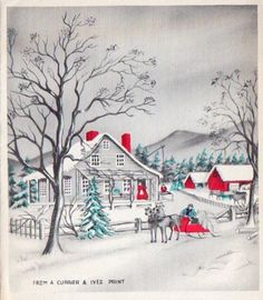 A Christmas card featuring Currier and Ives. Vintage Christmas Photos, Retro Christmas, Christmas Images, Christmas Love, Vintage Holiday, Christmas Greetings, Winter Christmas, Christmas Houses, Woodland Christmas