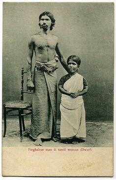 Post card of Singhalese Man and Tamil Dwarf Woman - Ceylon (Sri Lanka) Old Pictures, Old Photos, Vintage Photographs, Vintage Photos, Ceylon Sri Lanka, Indian People, Vintage India, African Tribes, Native Indian