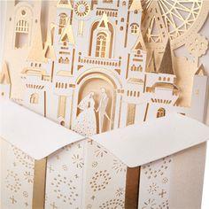 50 pcs Set - Laser Cut Castle Wedding Invitations Z-Fold