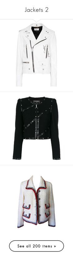 """""""Jackets 2"""" by joanna-tabakou ❤ liked on Polyvore featuring outerwear, jackets, coats, tops, coats & jackets, white, motorcycle jacket, yves saint laurent, rider leather jacket and genuine leather biker jacket"""