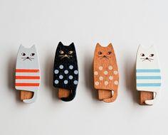 wooden cat clothes pins