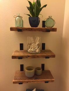 Sets of 3 Reclaimed Wood Bathroom Shelves With 6 Handmade Steel Shelf Brackets Sets of 3 Reclaimed Wooden Bathroom Shelves, Wood Bathroom, Bathroom Sets, Bathroom Designs, Master Bathroom, Natural Home Decor, Diy Home Decor, Room Decor, Steel Shelf Brackets