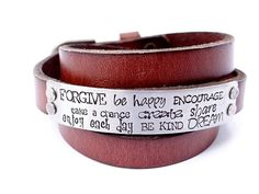 Leather Cuff Bracelet, Inspirational Hand Stamped Bracelet - Be Happy, Enjoy Each Day, Inspire, Encourage, Be Kind, Motivational Jewelry