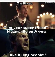 If you're looking for an action show, Arrow is for you. Head towards The Flash or Supergirl Arrow Funny, Arrow Memes, Superhero Shows, Superhero Memes, Dc Memes, Funny Memes, Hilarious, Funny Pins, Team Arrow