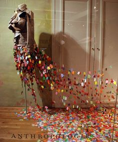 This company (anthropologie) is known for their creative and innovative window and environmental displays. I hope to see one in person some day!
