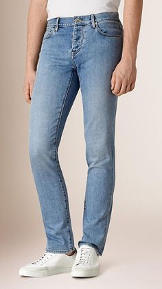 Light indigo Straight Fit Comfort Stretch Japanese Denim Jeans - Image 1