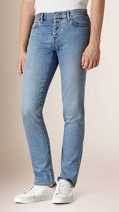 Light indigo Straight Fit Comfort Stretch Japanese Denim Jeans - Image 1