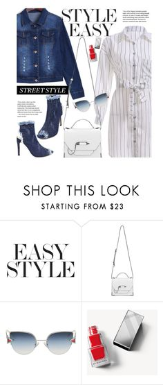 """""""Street Chic: Denim Pumps"""" by beebeely-look ❤ liked on Polyvore featuring Mackage, Fendi, Burberry, stripes, shirtdress, sammydress, denimjackets and StreetChic"""