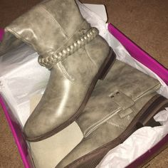 Rampage Gray Boots Adorable Rampage gray fake leather boots. So sad that I bought the wrong size! Never worn. Has braid around ankle. Rampage Shoes Winter & Rain Boots