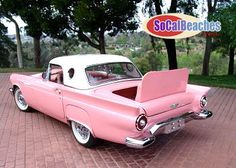 1957 Ford Thunderbird - Another pink car from the Ford Thunderbird, Volkswagen, Chevrolet Bel Air, Ford Modelo T, Vintage Cars, Antique Cars, Hot Rods, Automobile, Ford Mustang