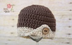 Button Wing Beanie in Taupe with Wheat Brim and Oak Button - Newborn $16.00