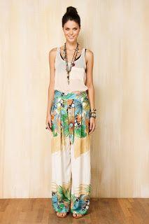 LINHA BAZAR e BRECHÓ online: FARM calça pantalona jardim borboletas