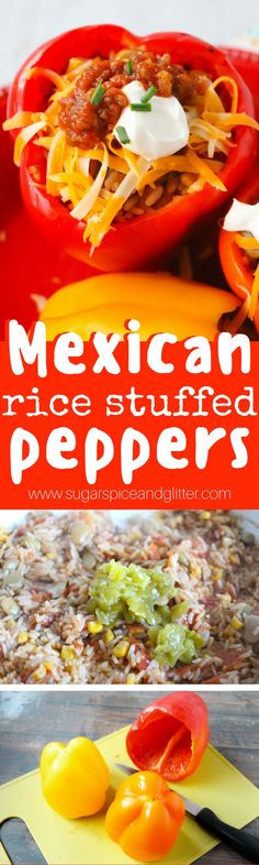 Flavorful Mexican rice stuffed peppers - a meatless supper idea kids will love and a delicious alternative to Taco Tuesday!