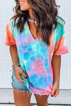 Short Sleeve Tie Dye Print T-shirt tye dye camisetas diseños Tye And Dye, Tye Dye, Short Tie Dye, Camisa Tie Dye, Short T Shirt, Short Sleeve Shirts, Long Sleeve, Tie Dye Tops, Tie Dye Outfits