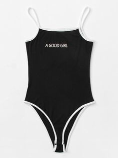 To find out about the Letter Print Contrast Binding Cami Bodysuit at SHEIN, part of our latest Bodysuits ready to shop online today! Cute Swag Outfits, Chill Outfits, Swimwear Fashion, Bikini Fashion, Addidas Swimsuit, Cute Bodysuits, Bikini Outfits, Body Suit Outfits, One Piece Outfit
