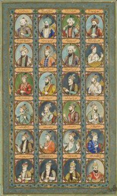 THE MUGHAL DYNASTY: A LARGE ILLUSTRATION OF TWENTY-FOUR MUGHAL EMPERORS AND PRINCES DELHI SCHOOL, NORTH INDIA, CIRCA 1850