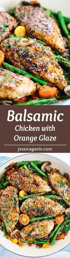 Balsamic Chicken with Orange Glaze Sauce - a flavorful skillet meal that is ready in 30 minutes or less! A healthy dish with fresh spring vegetables that everyone with enjoy. | jessicagavin.com