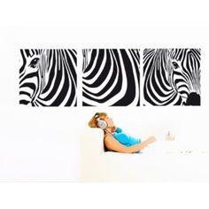 Wandtattoo, Wandaufkleber AMZA0035 Zebra Trio Achtung verschiedene Größen u. Farben