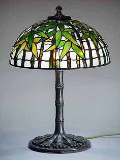 "16"" Black Bamboo Tiffany Lamp Shade #1443 and Bronze Base #480"