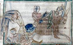 "Hauberk with integral mittens and coif being removed, from the 13th century French language manuscript ""Romance Of Alexander"",  Cambridge University Library."