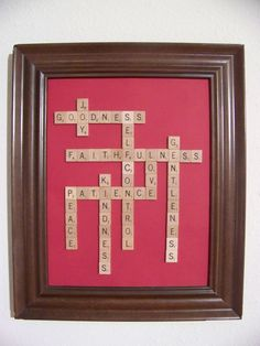 Use Scrabble Letters, a Cheap Frame, and Craft Paper, and you could use this example, names in a family, memories with a friend, etc